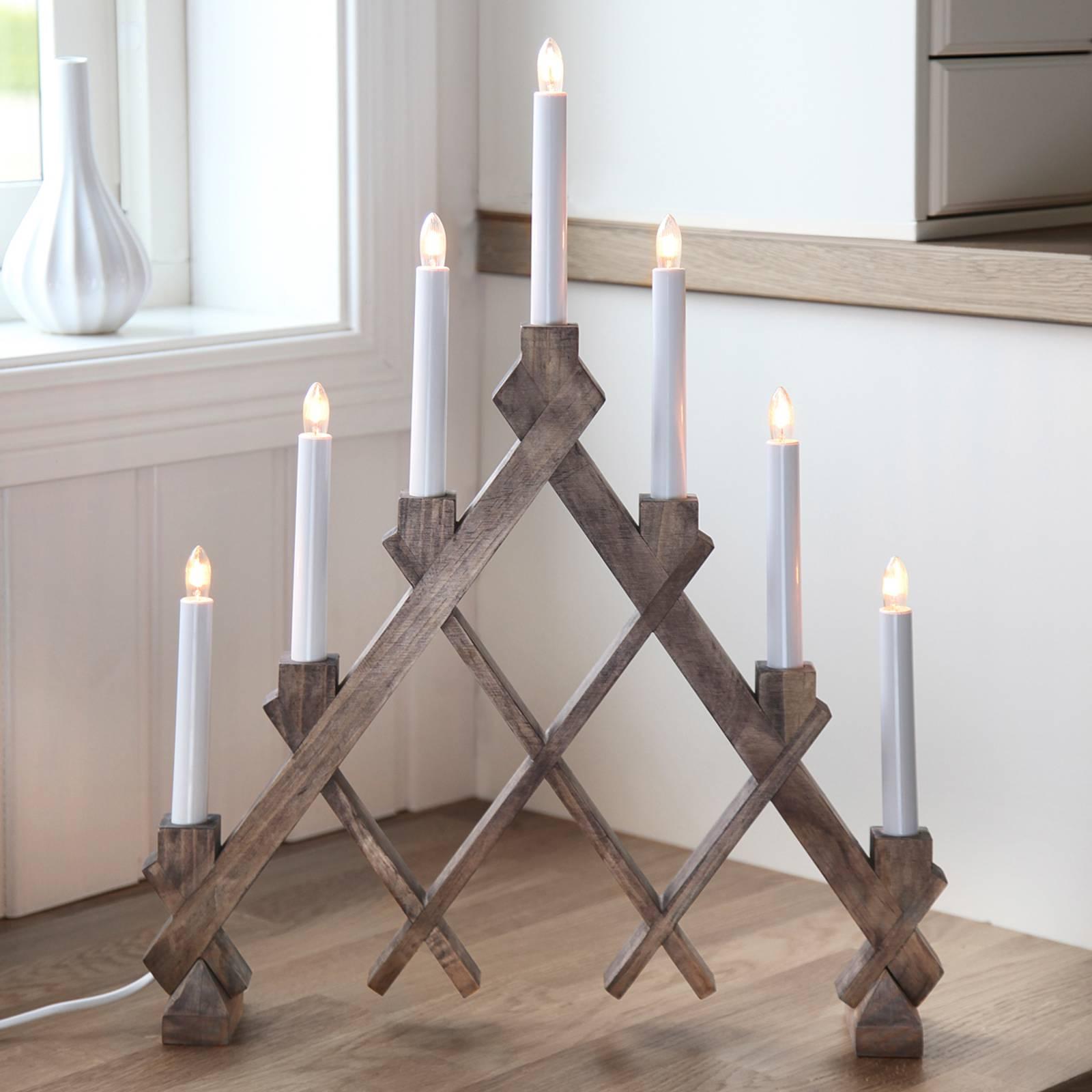 Seitsemänlamppuinen Rut-kynttelikkö, ruskea
