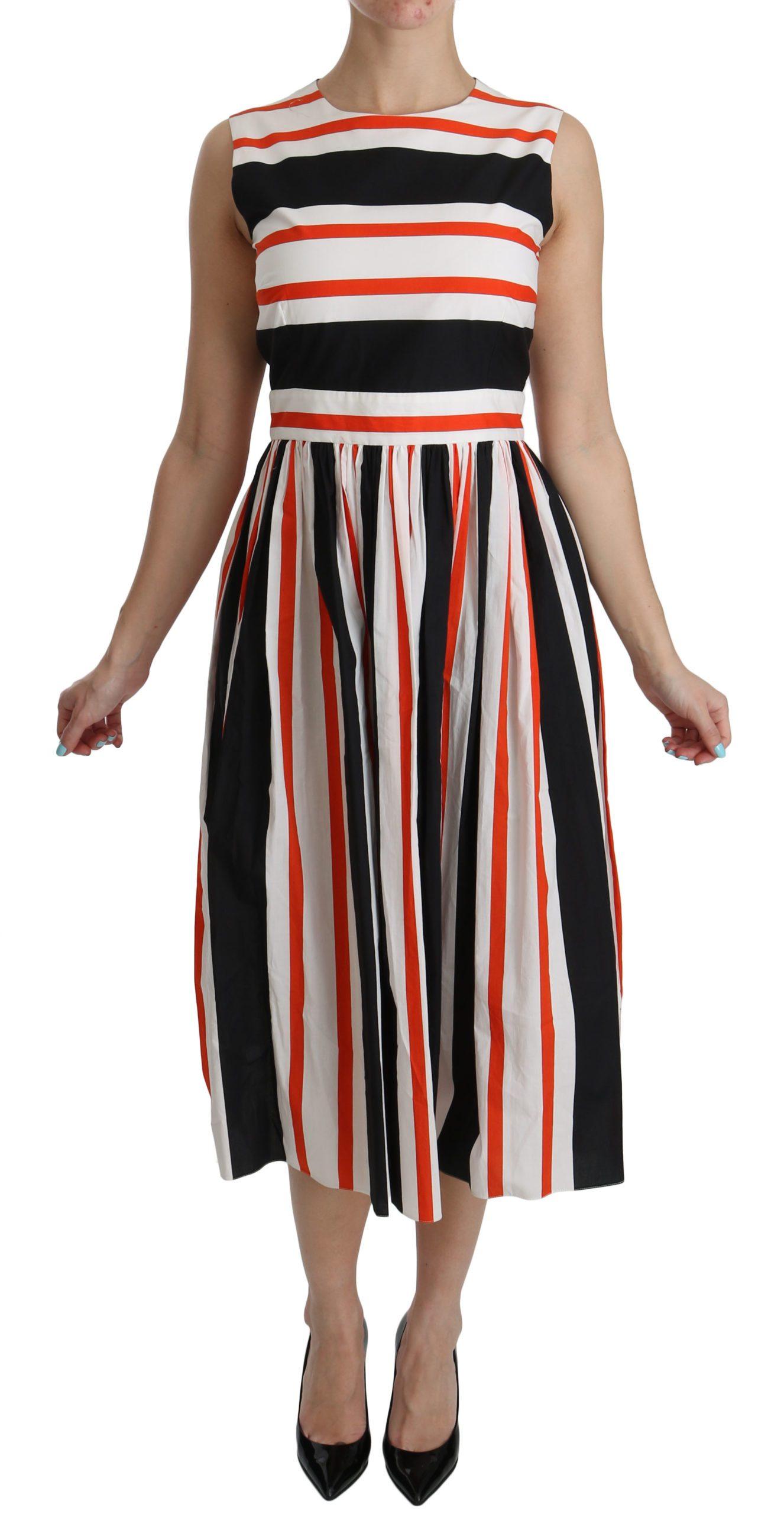 Dolce & Gabbana Women's Stripes A-Line Pleated Midi Dress Multicolor DR2080 - IT44|L
