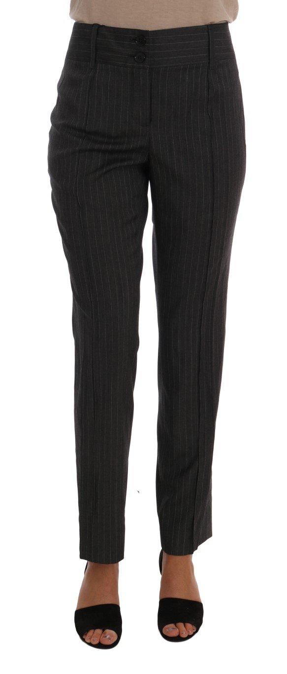 Dolce & Gabbana Women's Viscose Wool Stretch Striped Trouser Gray BYX1112 - IT44|L