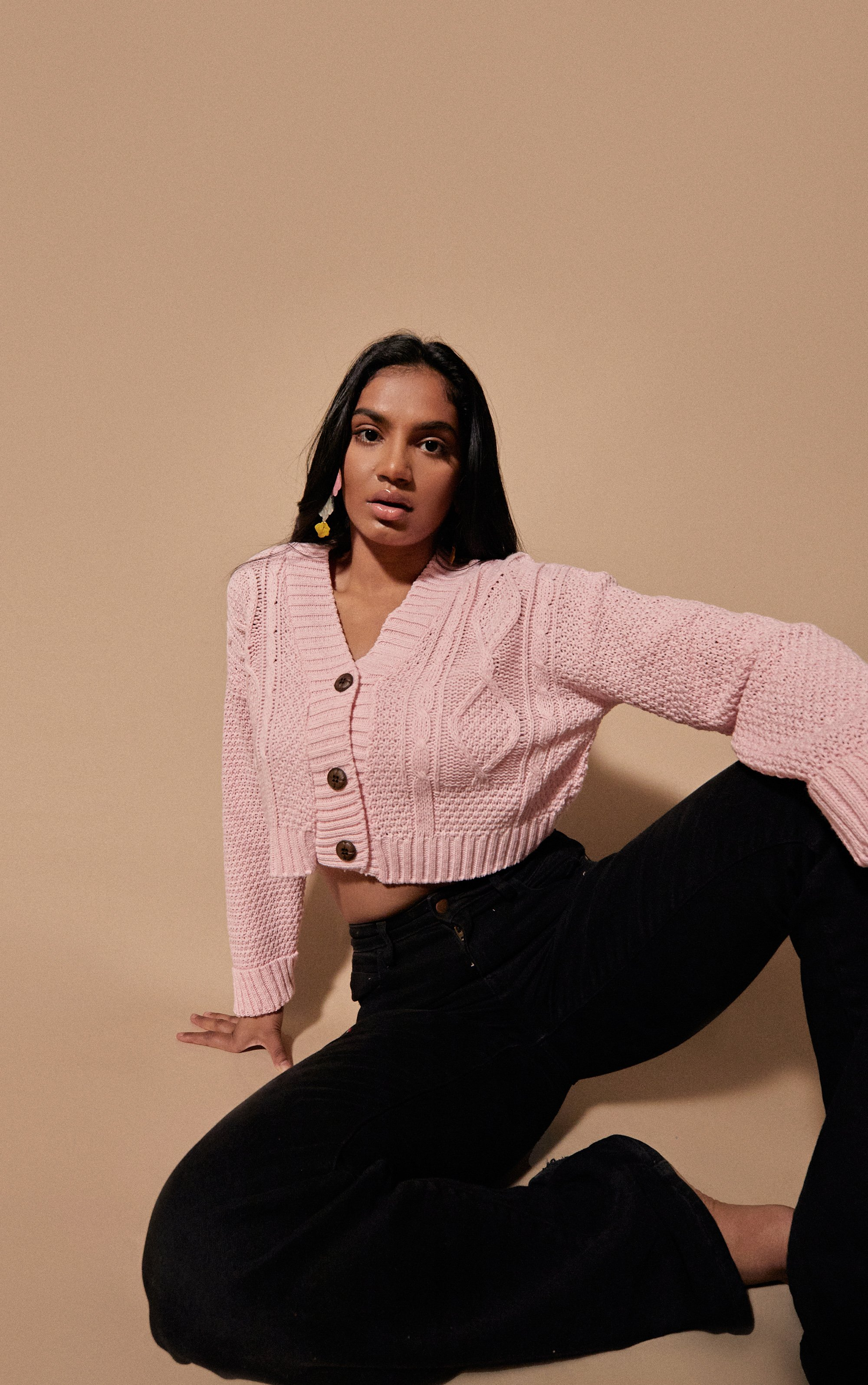 Cable Cropped Button Up Cardigan - Pink / 8/10