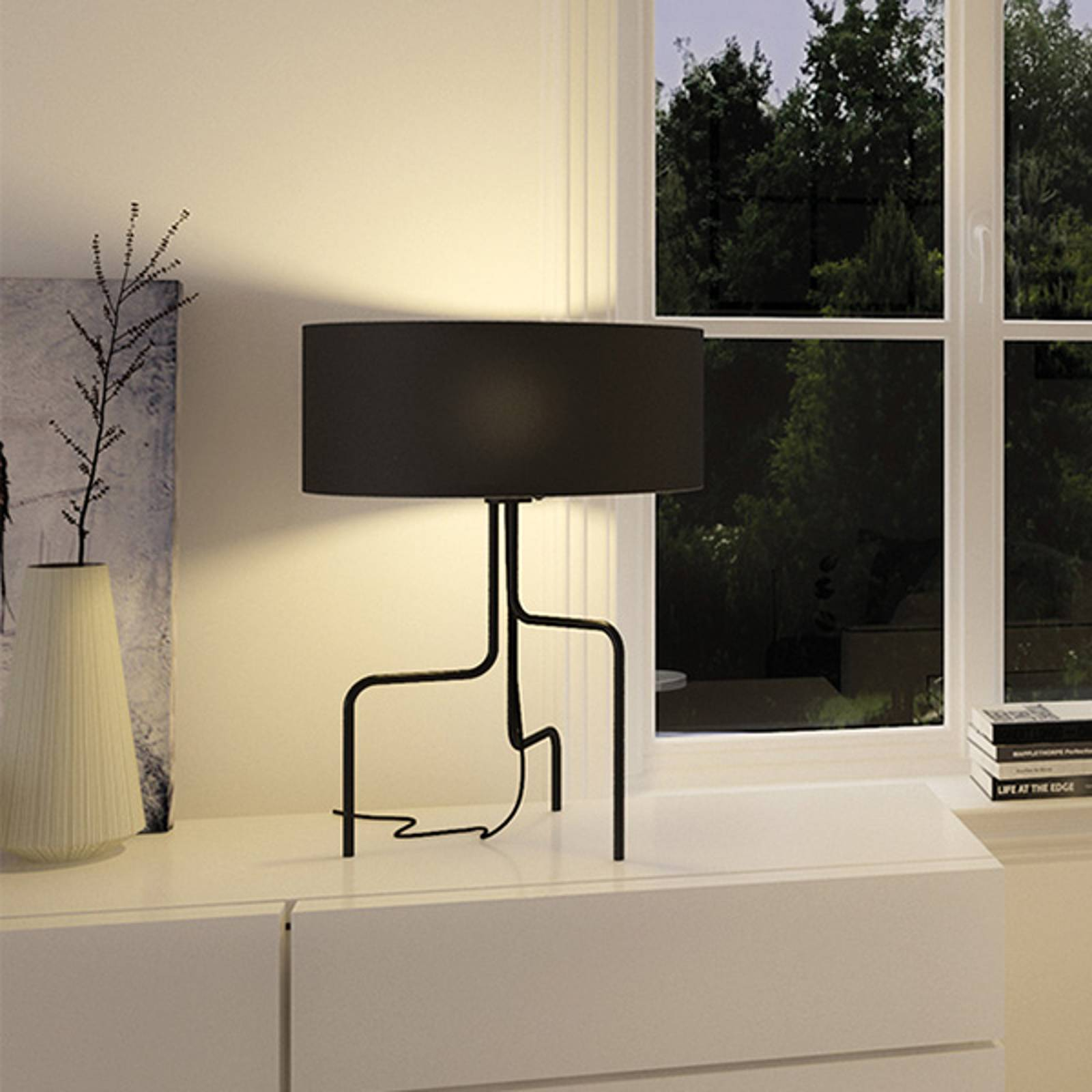 Textil-bordslampa Borneo, svart, tre ben