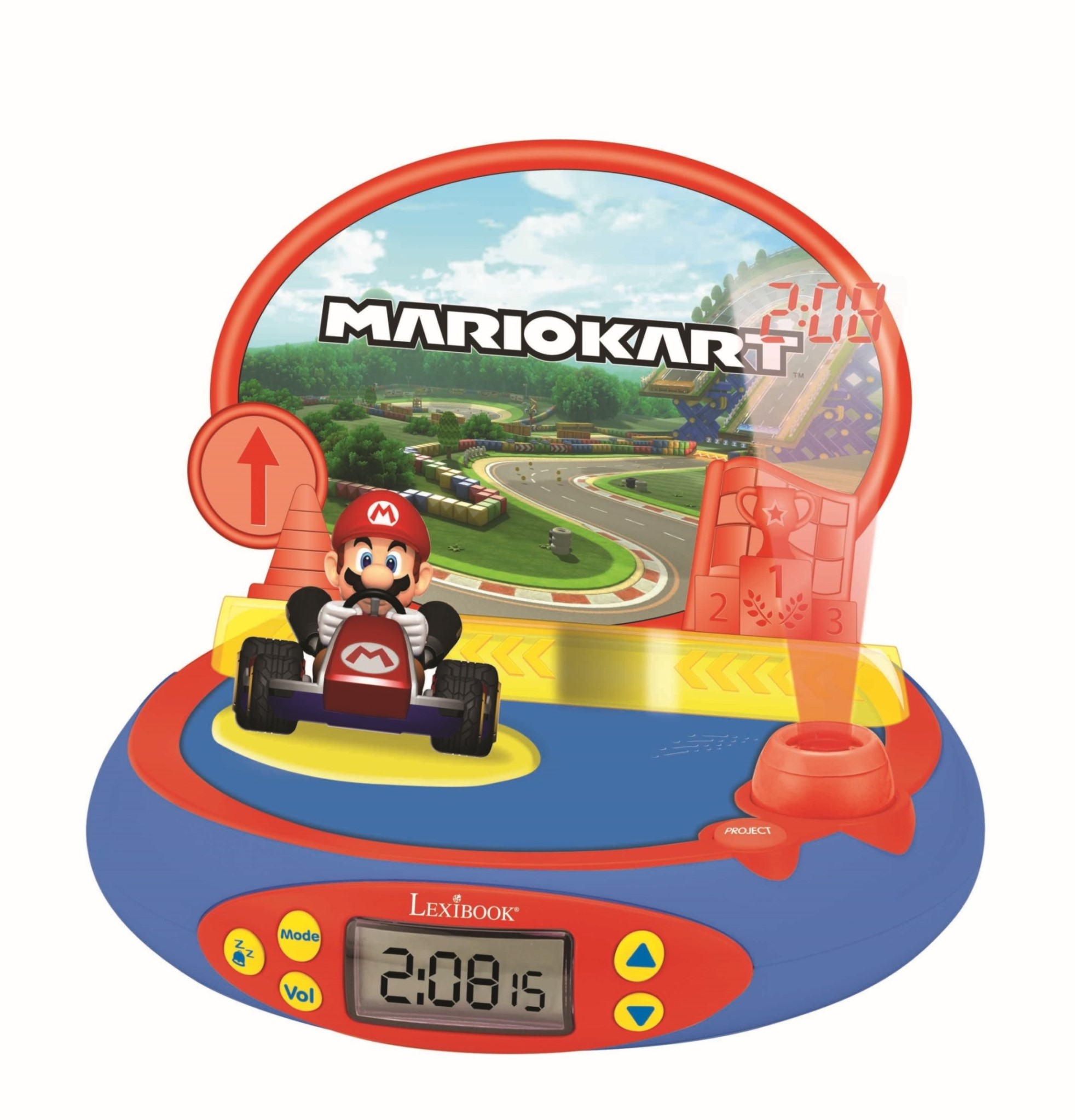 Lexibook - Mario Kart 3D Character Projector Clock with sounds from the video game (RP500NI)