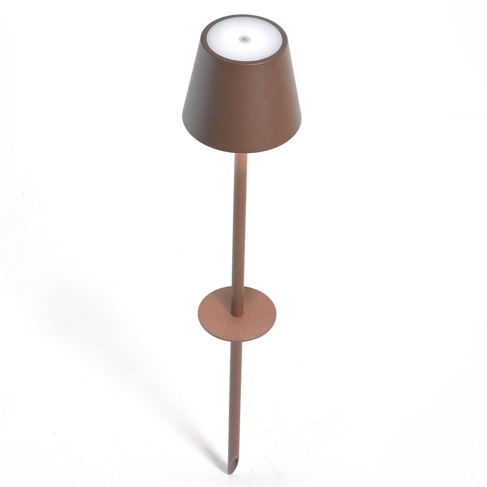 LED-maapiikkivalo Poldina-akku, ruskea, 135 cm