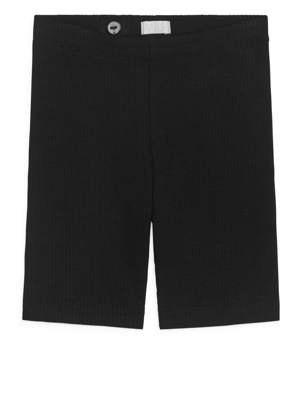 Ribbed Bicycle Shorts - Black
