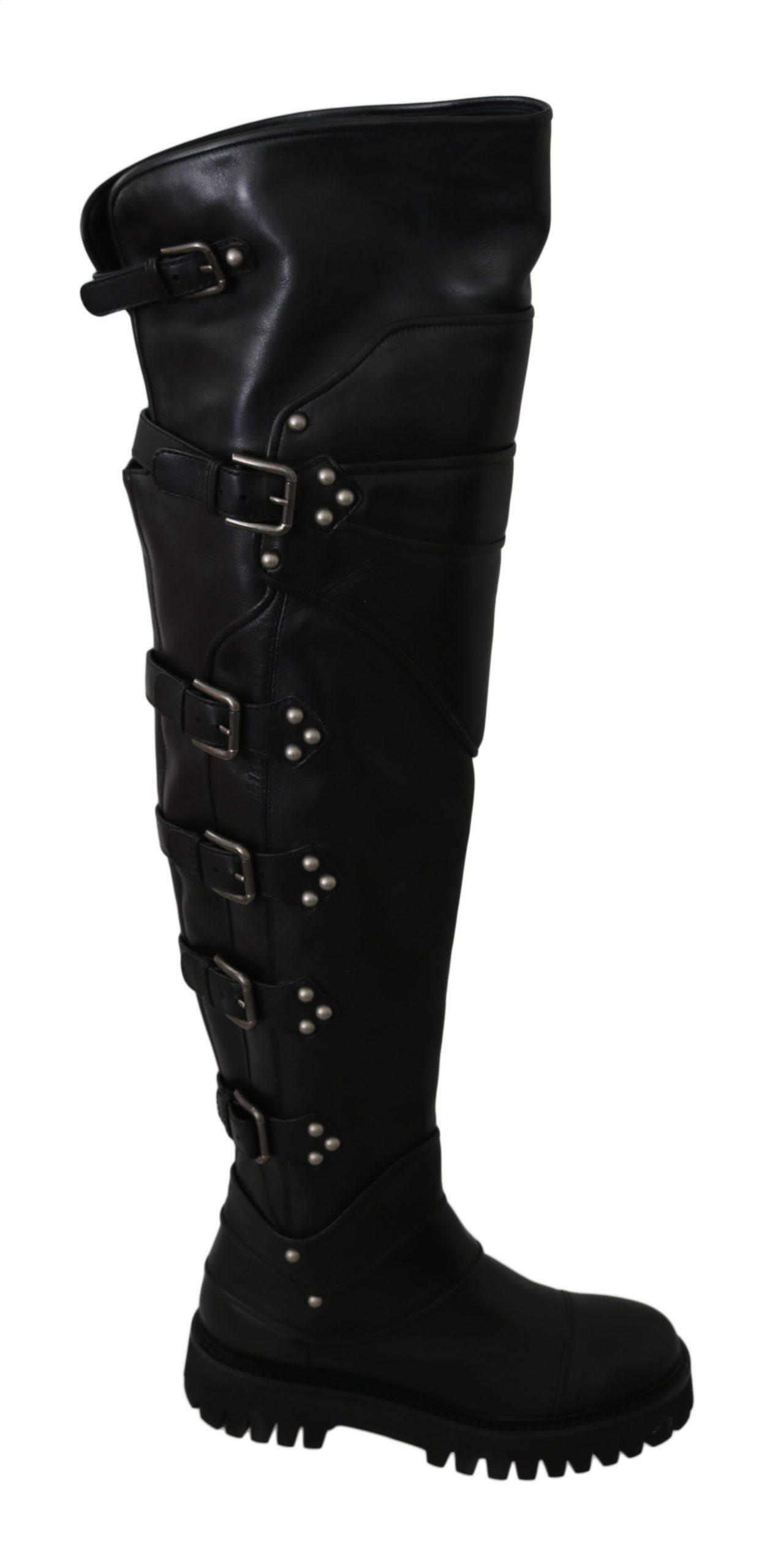 Dolce & Gabbana Leather Over Knee Biker Boots Black LA5890 - EU37/US6.5