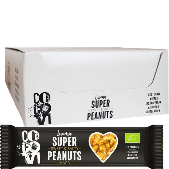 """Laatikollinen Luomu """"Super Peanuts Maca"""" Patukoita 24 x 40g - 75% alennus"""