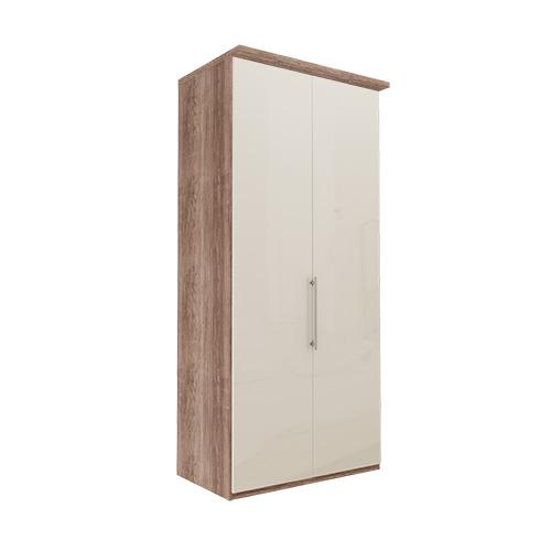 Garderobe Atlanta - Mørk rustikk eik 236 cm, Med gesims, Venstre