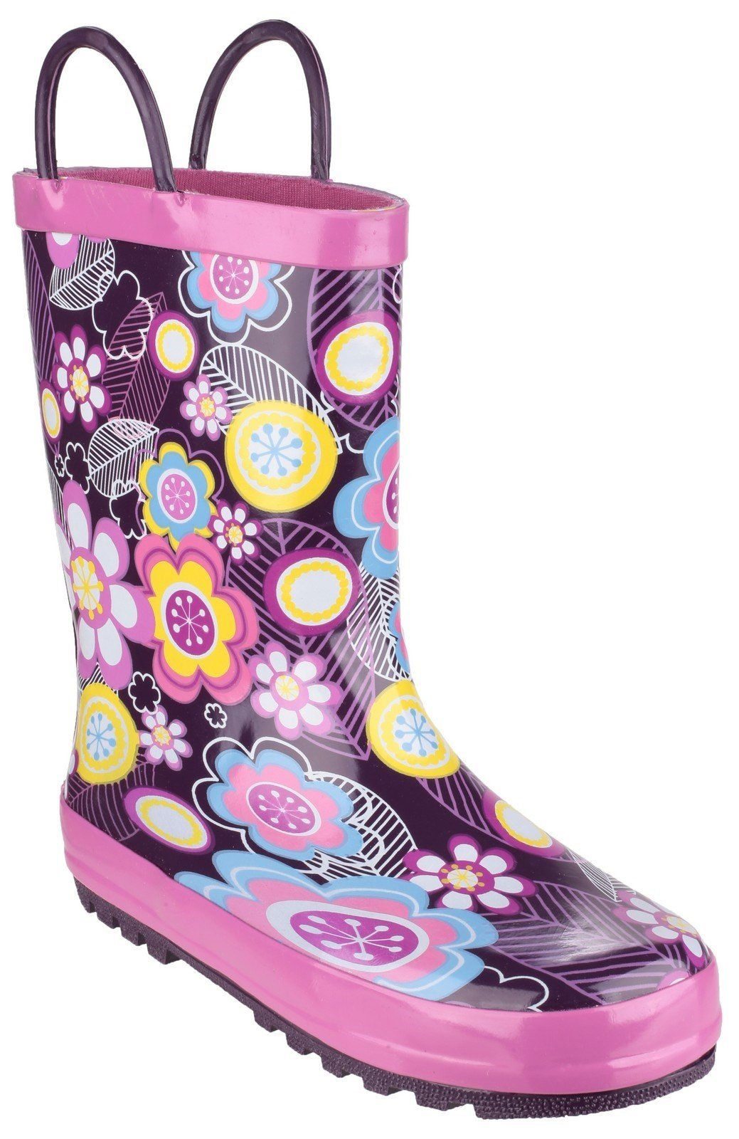 Cotswold Kids Puddle Waterproof Pull On Boot Multicolor 20962 - Flower 6