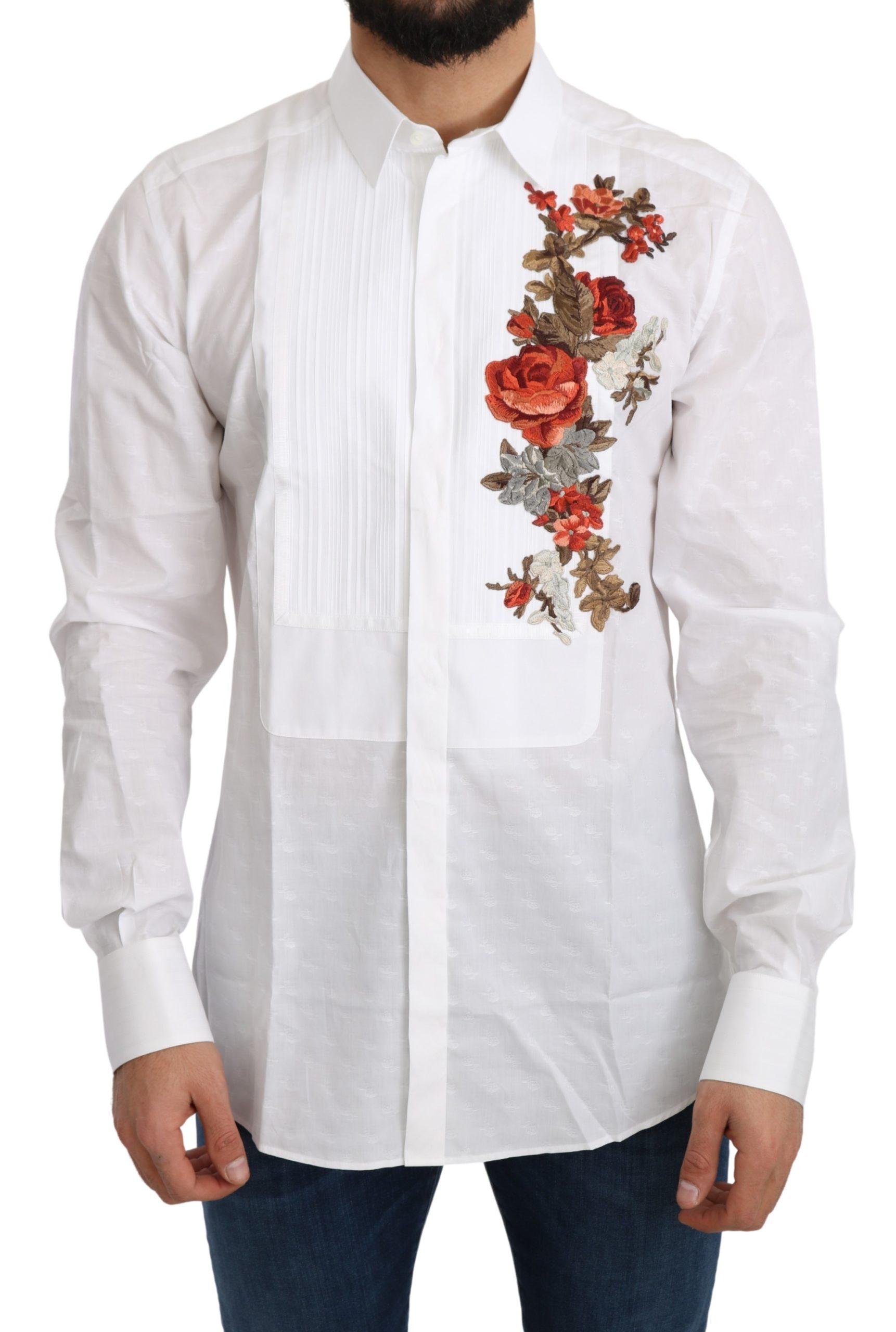 Dolce & Gabbana Men's Cotton GOLD Flowers Top Solid Shirt White TSH5217 - IT38 | XS