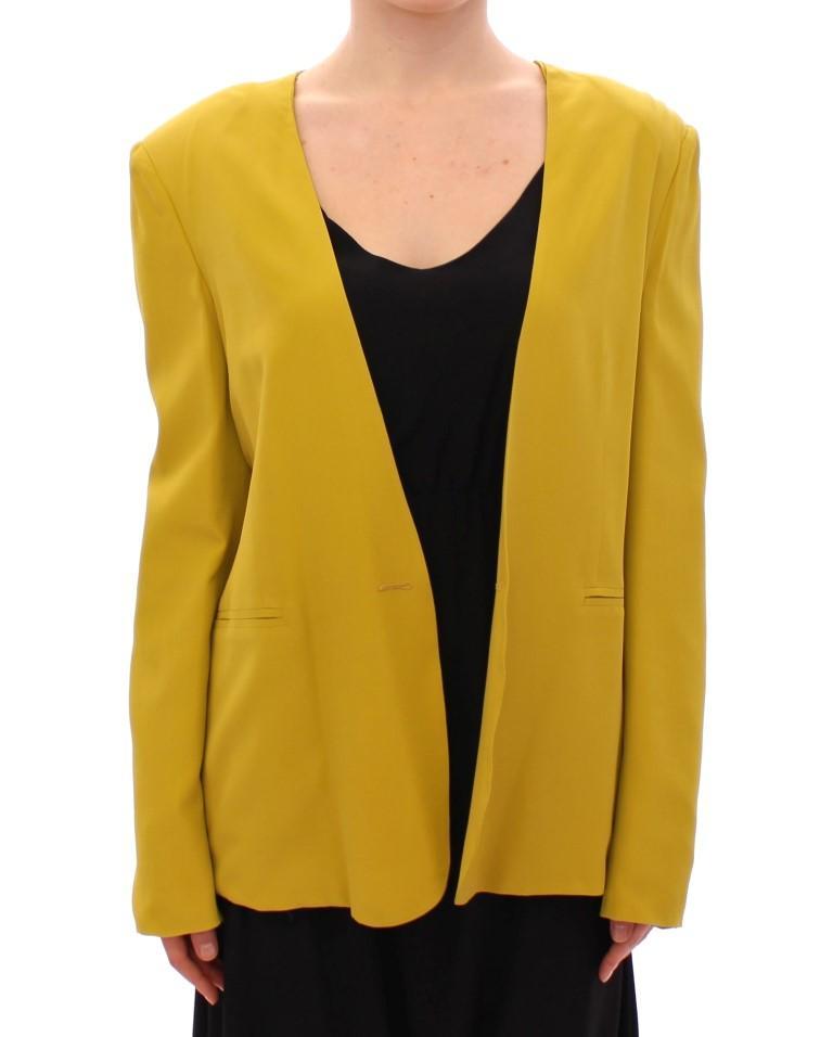 Lamberto Petri Women's Mustard Yellow Silk Blazer Yellow GSD12587 - IT42 M