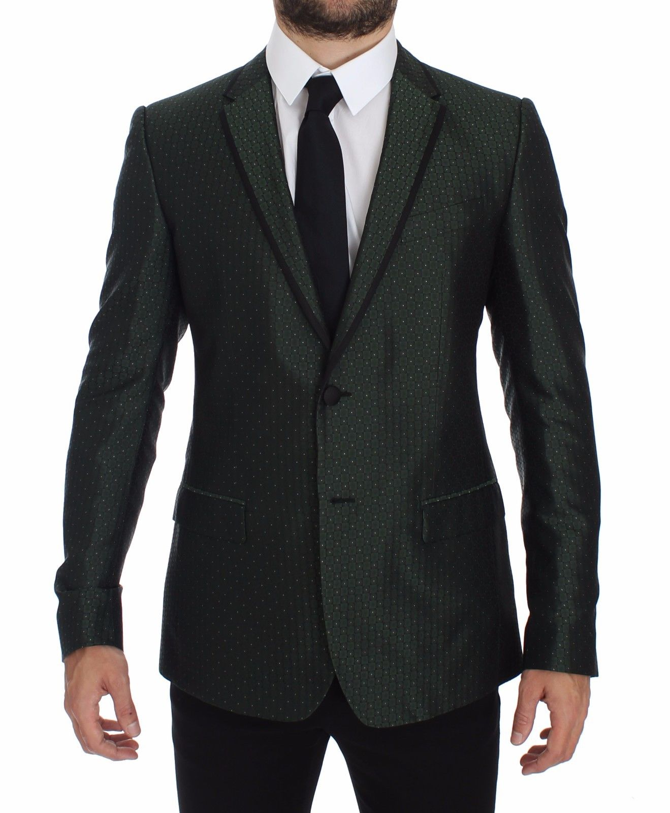 Dolce & Gabbana Men's Slim Fit Silk Two Button Blazer Green GTT10088 - IT44 | XS