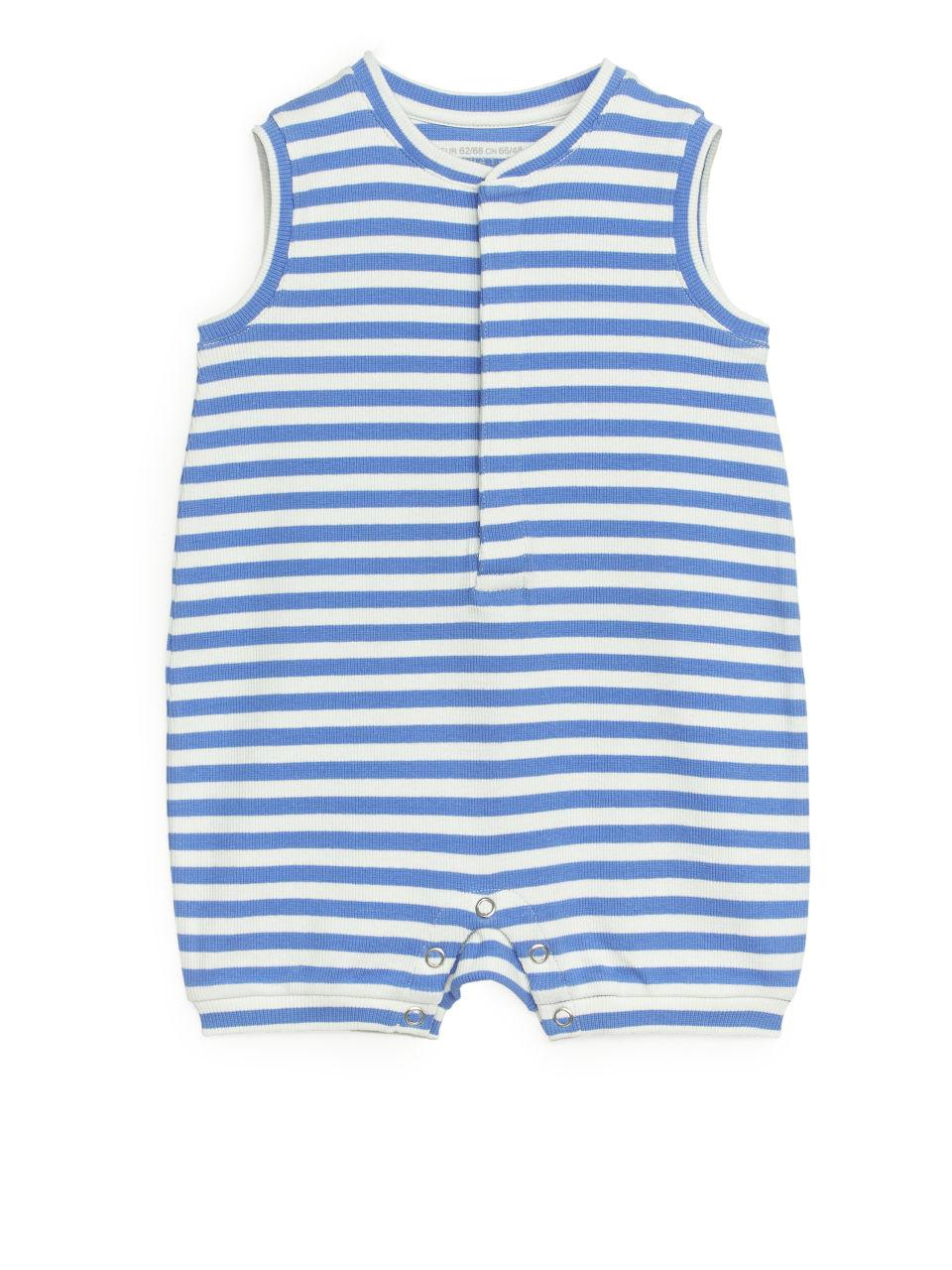 Sleeveless Jersey Romper - Blue