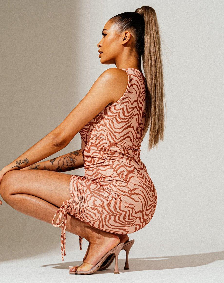 Zebra Sleeveless Ribbed Ruched Dress - Nude / 6