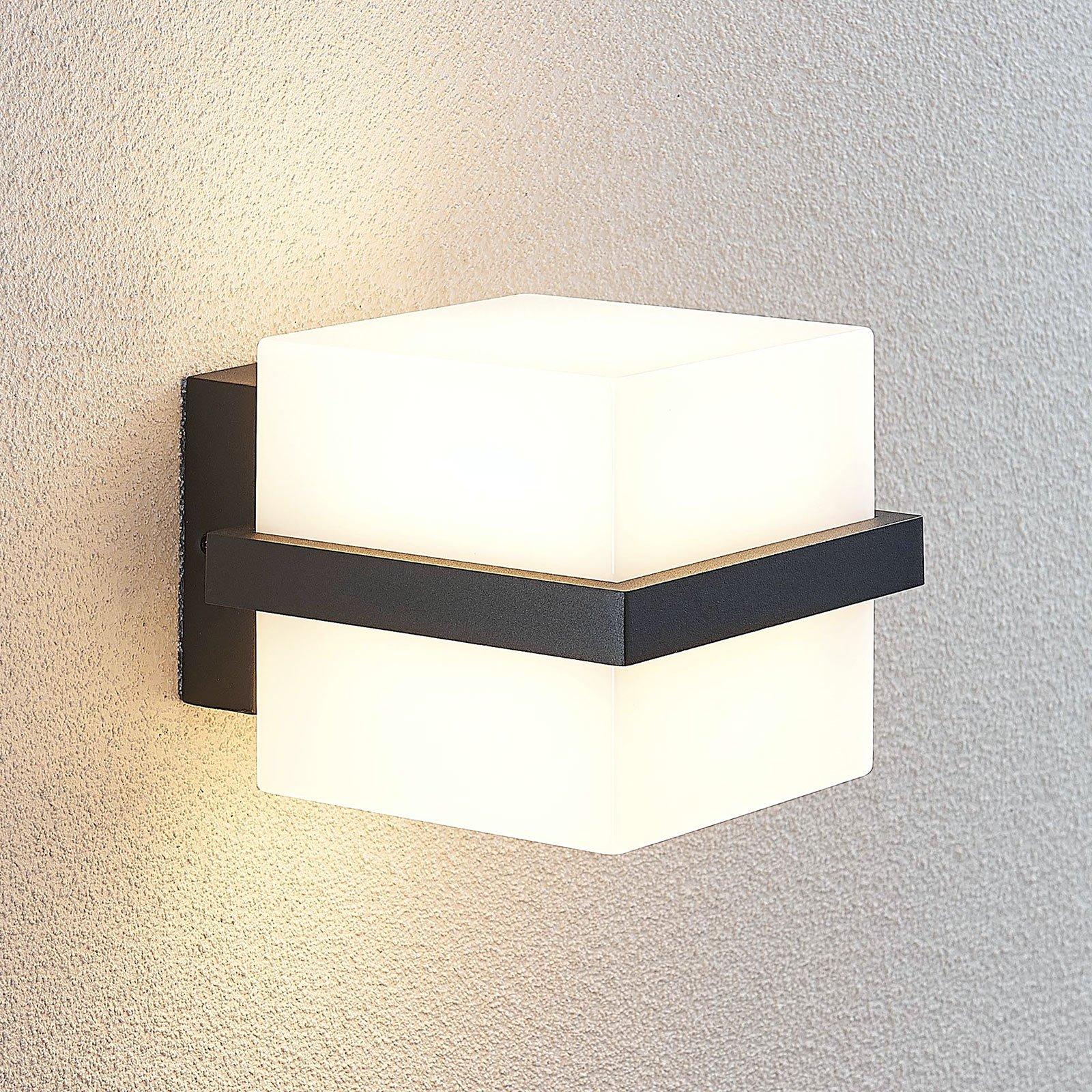 Utendørs LED-vegglampe Auron, terningformet