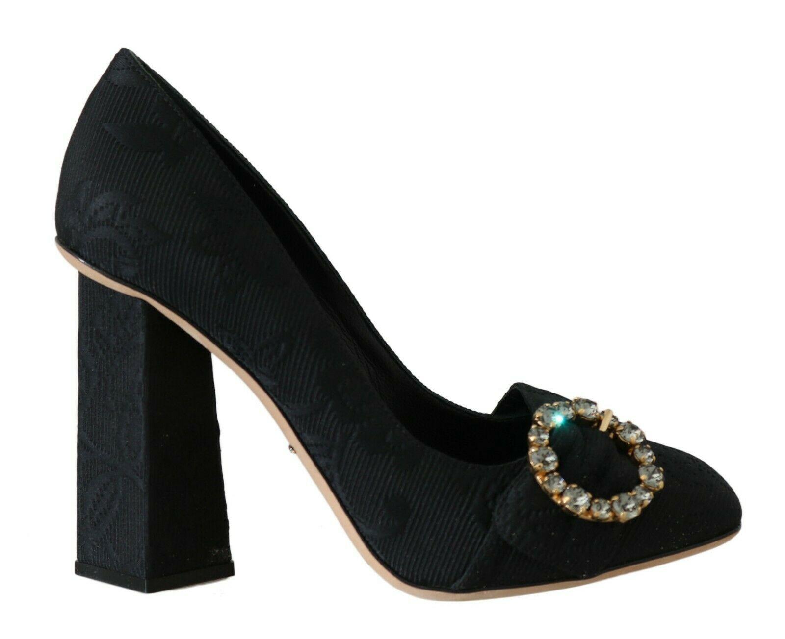 Dolce & Gabbana Women's Jacquard Floral Crystal Pumps Black LA5659 - EU36/US5.5