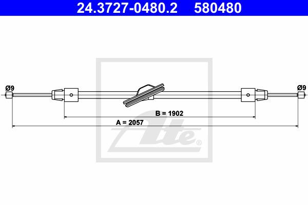 Käsijarruvaijeri ATE 24.3727-0480.2