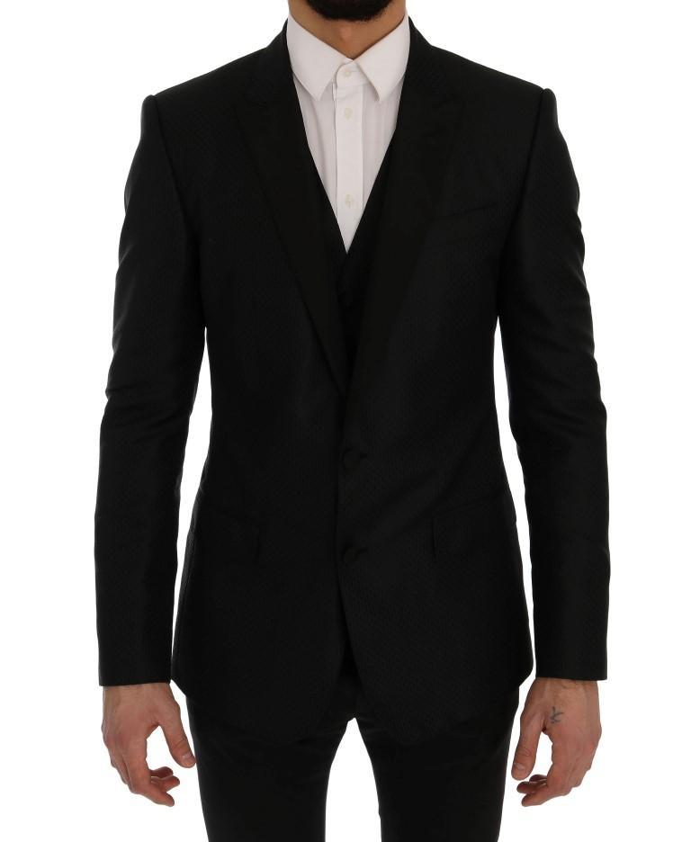 Dolce & Gabbana Men's MARTINI Silk Blazer Black JKT2591 - IT48   M