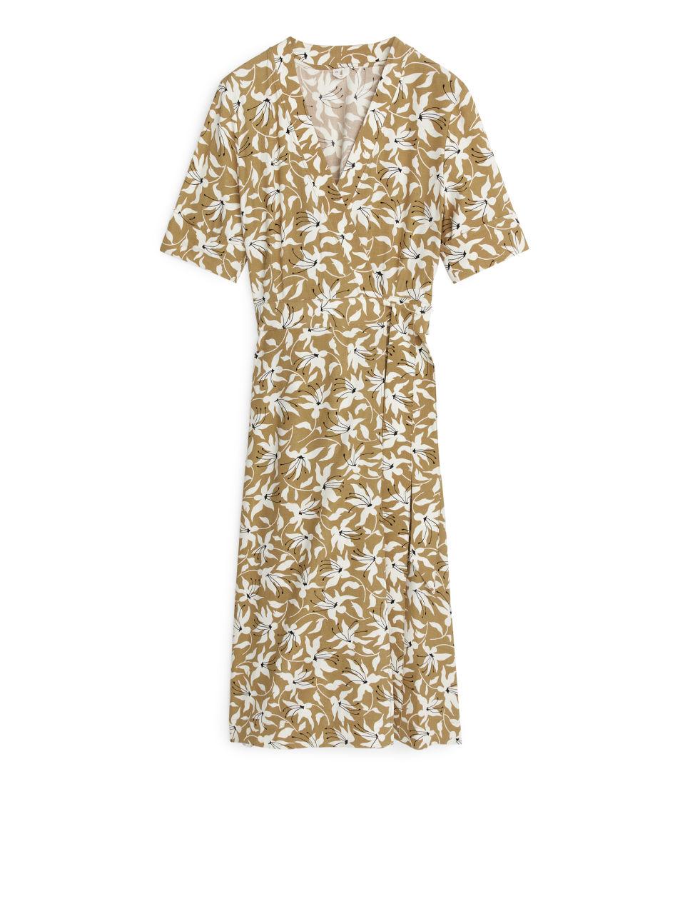 Printed Wrap Dress - Beige