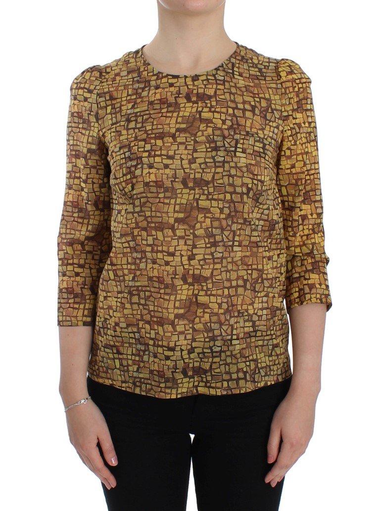 Dolce & Gabbana Women's Mosaic Print Top Yellow SIG13190 - IT42|M