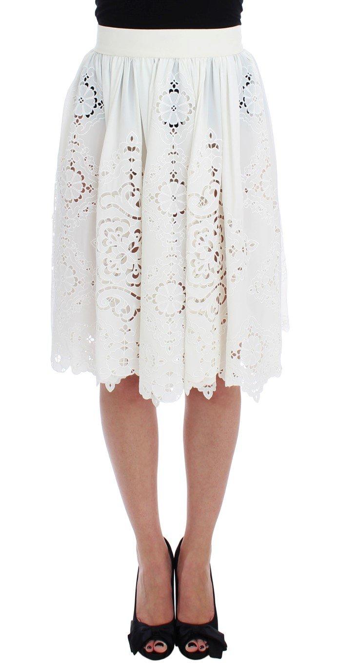 Dolce & Gabbana Women's Silk Floral Ricamo Knee Skirt White SIG17473 - IT40 S