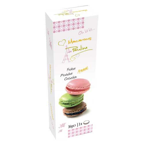Pauline Macarons Presentask 3-Pack - Choklad, Jordgubb & Pistage 3-Pack