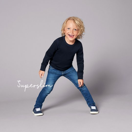 Jeans super slim stretch blå denim