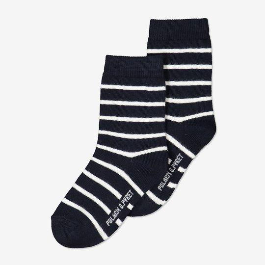 2-pakning stripete sokker barn mørkblå
