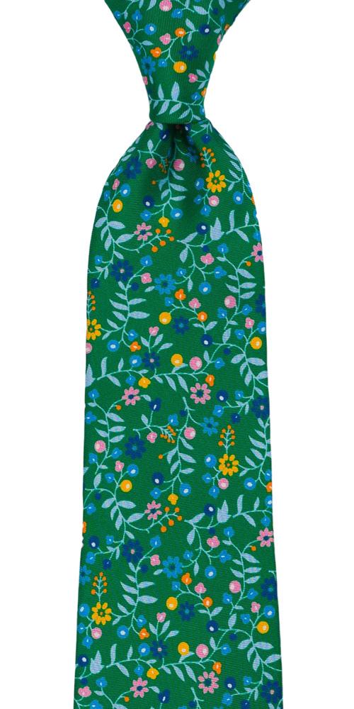 Silke Slips, Små, flerfargede blomster på smaragdgrønt, Grønn, Blomster