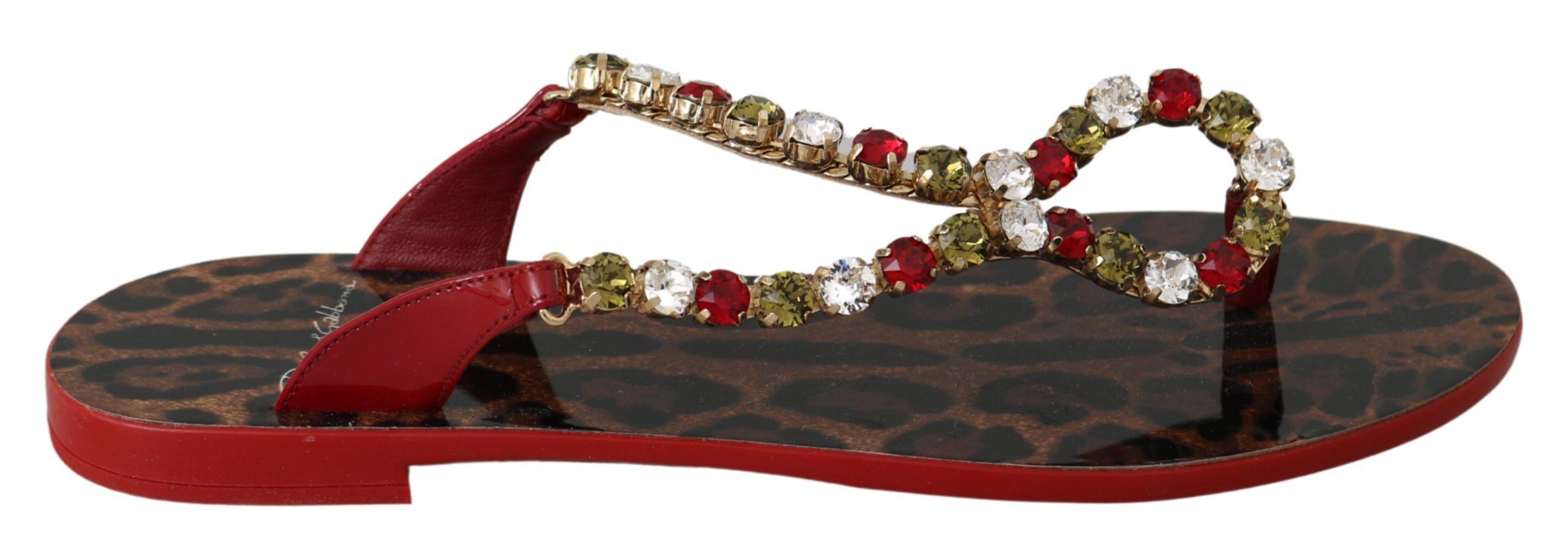 Red Leather Crystal Sandals Flip Flops Shoes - EU35/US4.5