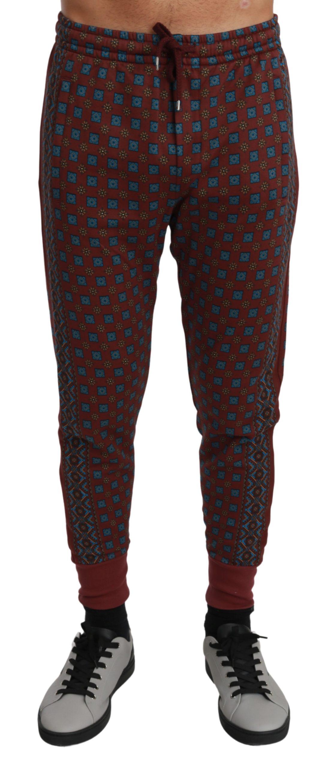 Dolce & Gabbana Men's Baroque Sweatpants Trouser Bordeaux PAN70992 - IT48   M