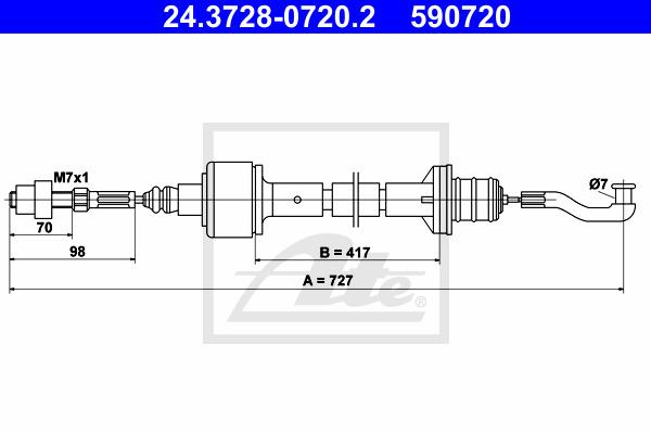 Kytkinvaijeri ATE 24.3728-0720.2
