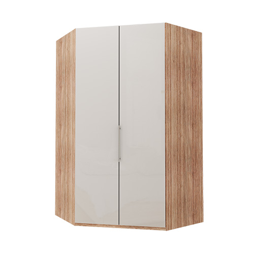 Walk-in Atlanta garderobe 236 cm, Hvitt glass, Lys rustikk eik