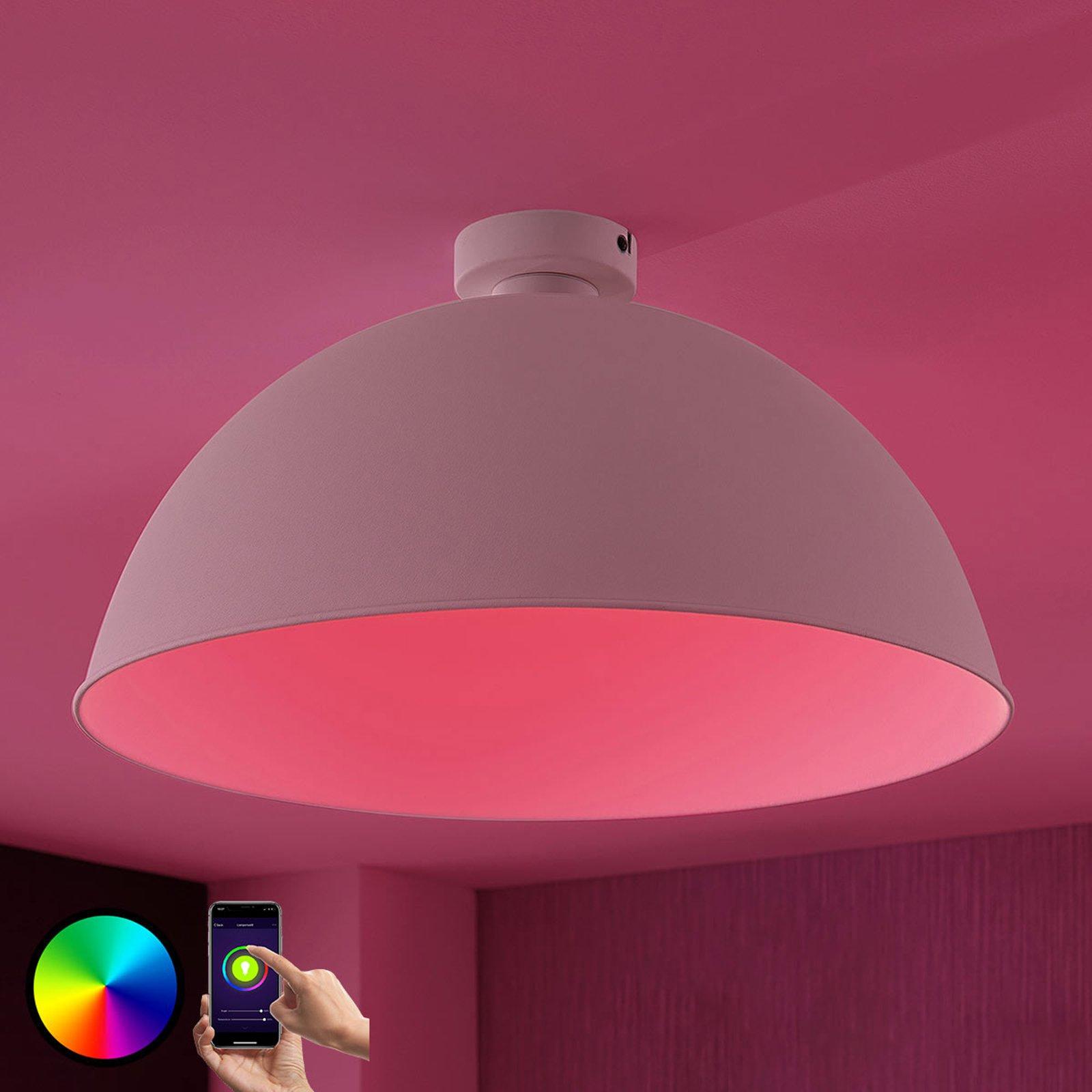 Lindby Smart LED-taklampe Bowl 51 cm sølv