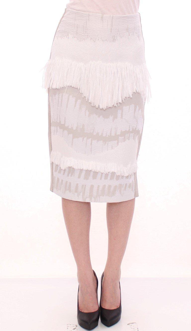 Arzu Kaprol Women's Acrylic Straight Pencil Skirt White GSS10322 - IT40 S