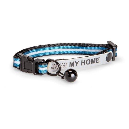 Basic Cat Reflective Halsband med Namnskylt (Blå)