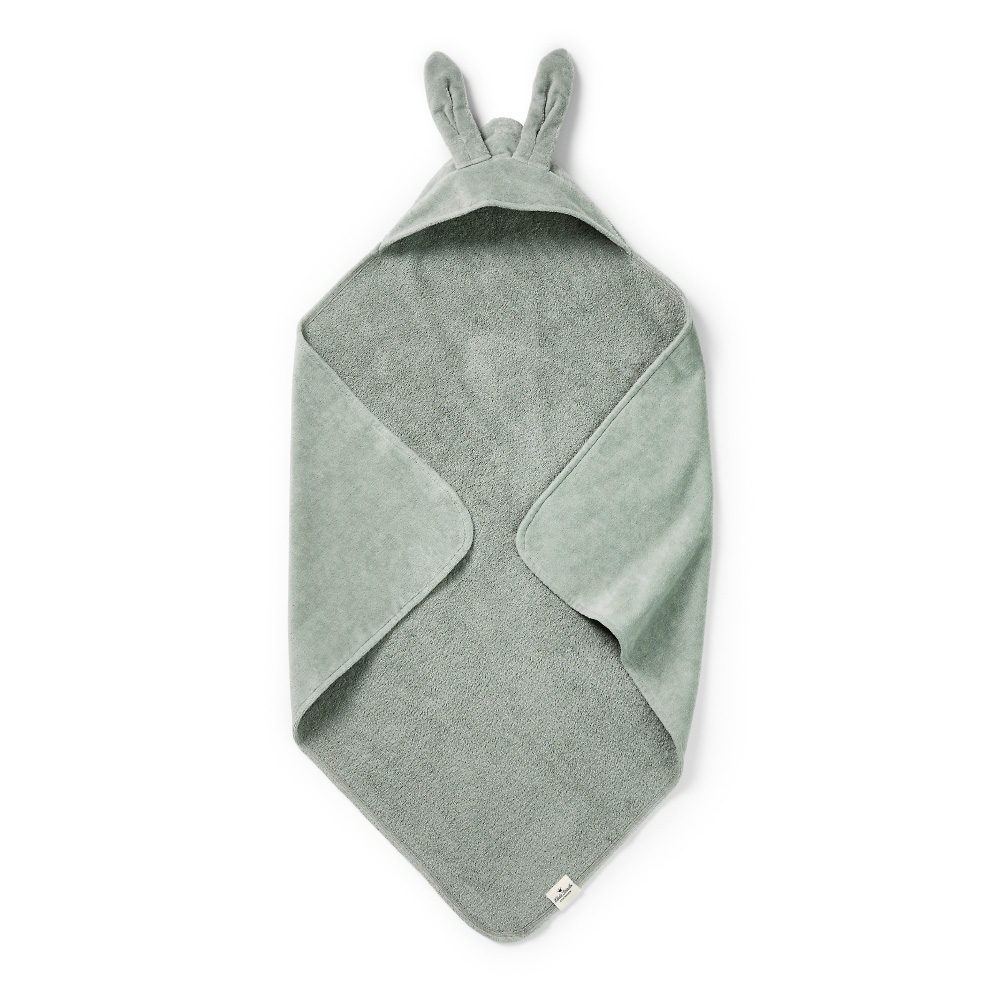 Hooded Towel - Mineral Green Bunny