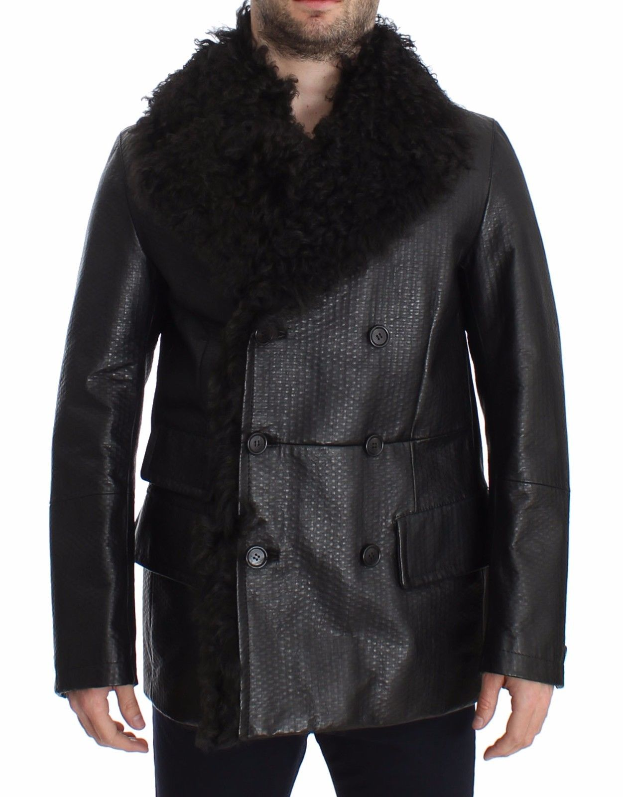 Dolce & Gabbana Men's Lambskin Leather Trenchcoat Black SIG14063 - IT46 | S