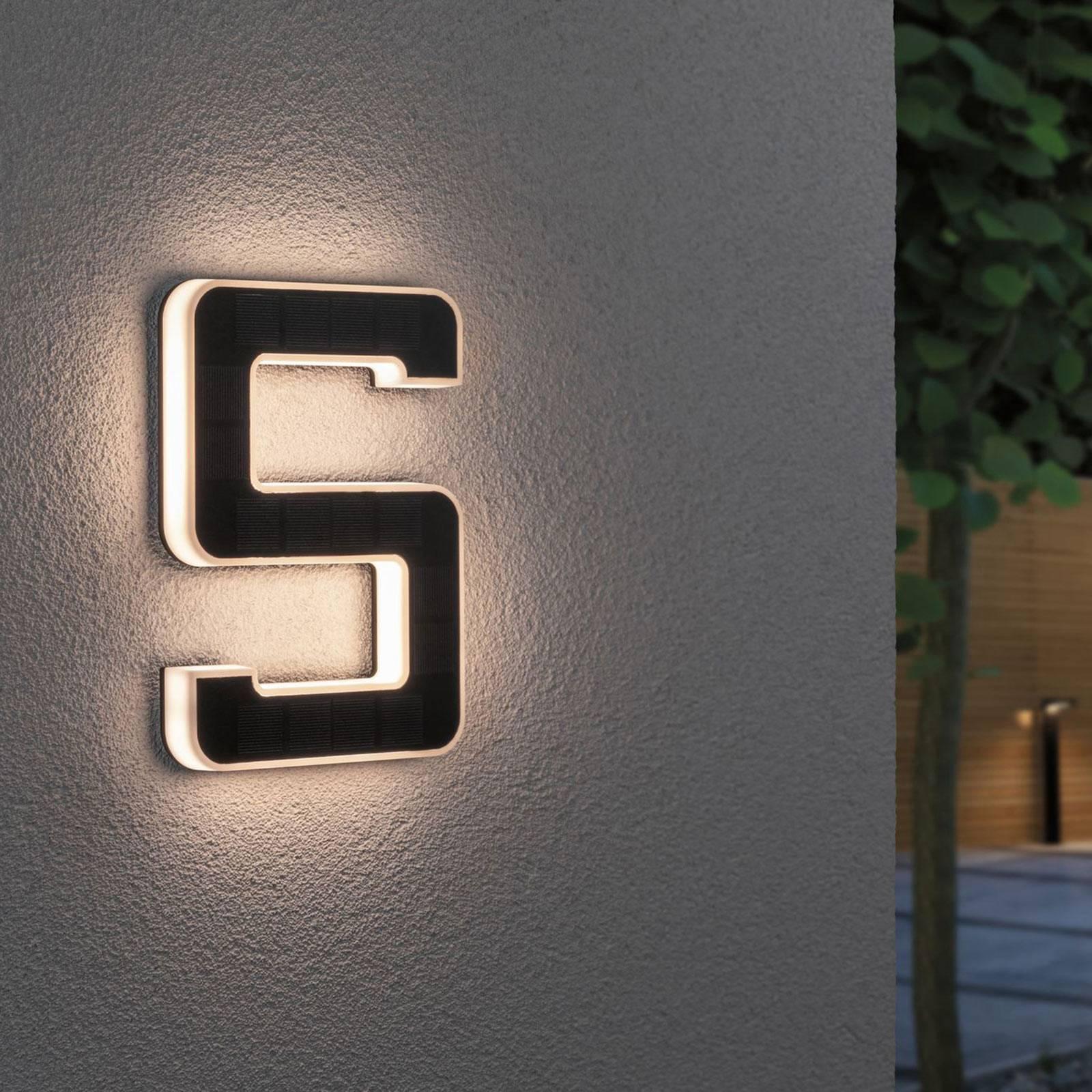 Paulmann aurinkokäyttöinen LED-talonnumero 5