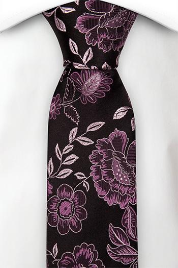 Silke Smale Slips, Lilla og sølv blomster på sort, Svart, Blomstrete