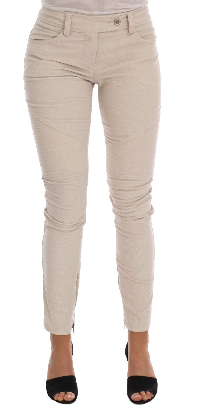 Ermanno Scervino Women's Slim Corduroy Trouser Beige BYX1154 - IT40|S