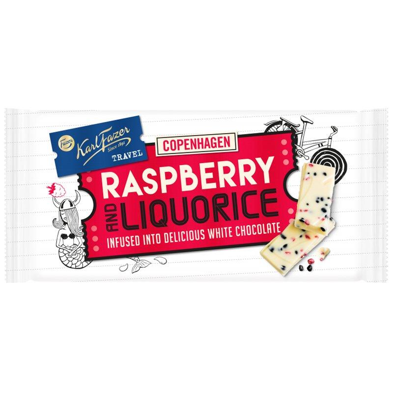 """Valkosuklaa """"Raspberry & Liquorice"""" 130g - 45% alennus"""