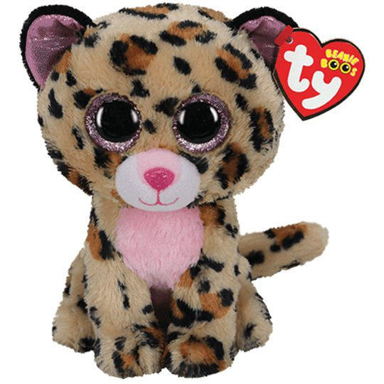TY Kosedyr Livvie Leopard 23 Cm, Brun/Rosa
