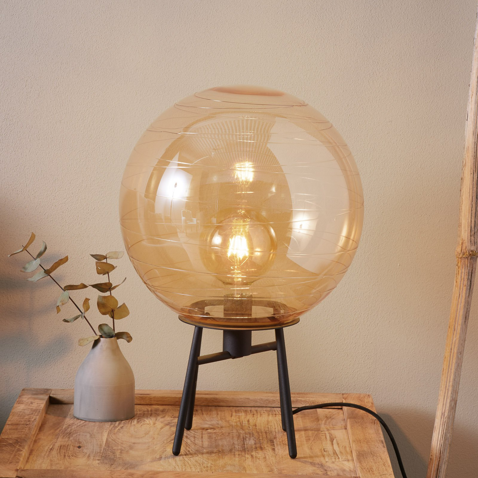 Bordlampe Lantaren, glass rav