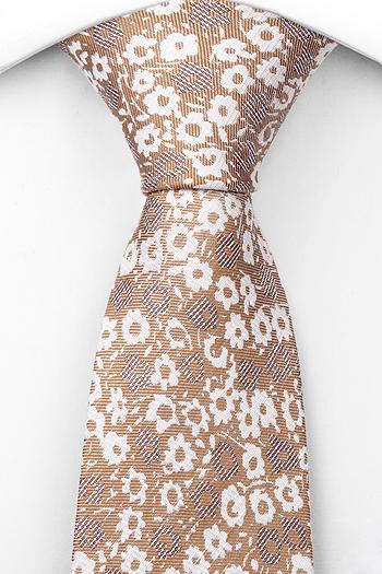 Lin Slips, Blommigt mönster i vitt och brunt på beigebrun bas, Beige, Blomster