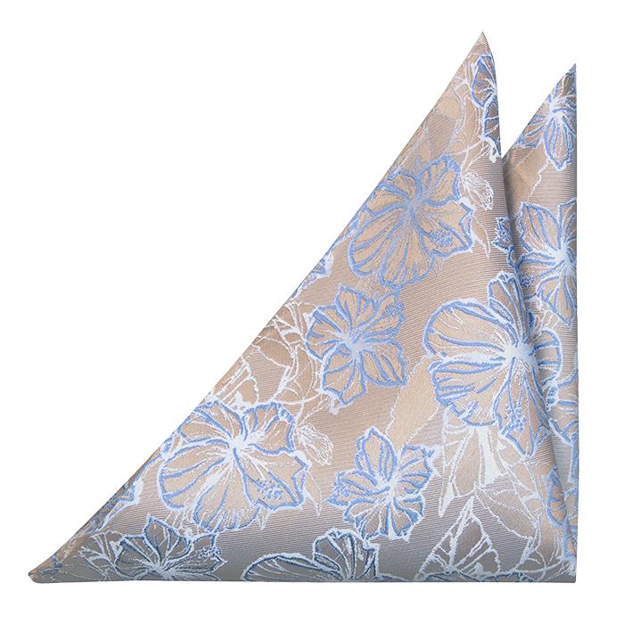 Silke Lommetørkler, Metallisk beige kyper, store hvite & blå blomster