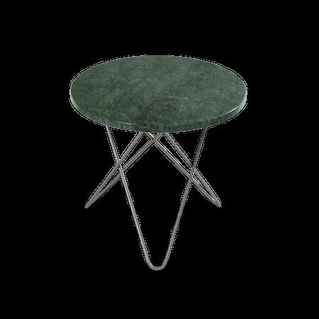 Mini O Sidebord Grønn Marmor med Rustfri Stålramme Ø40