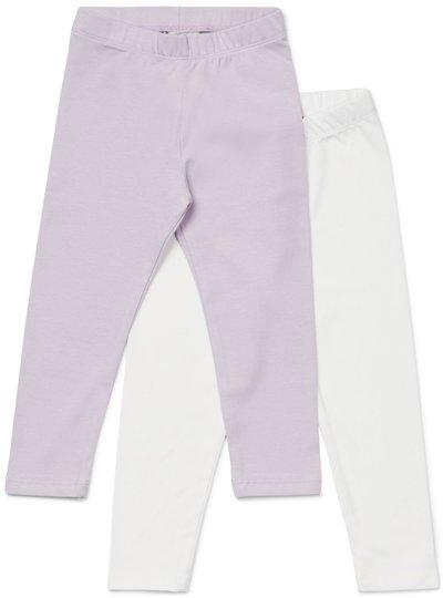 Petite Chérie Atelier Arielle Leggings 2-pack, White/Lavender 110-116