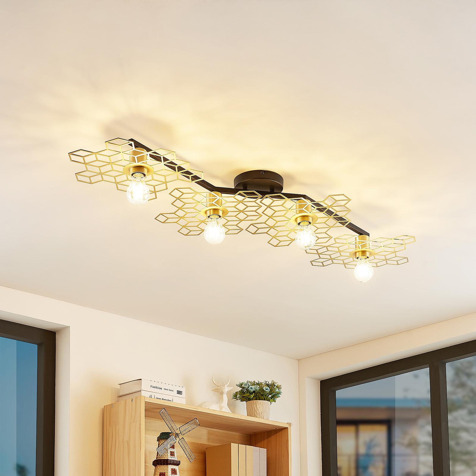 Lucande Alexaru -kattovalaisin, 4-lamppuinen kulta