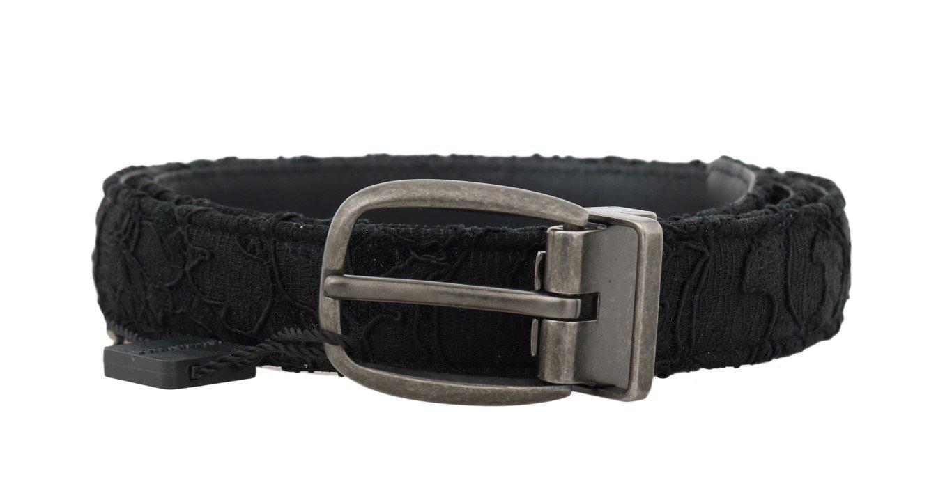 Dolce & Gabbana Men's Cotton Leather Belt Black BEL50060 - 100 cm / 40 Inches