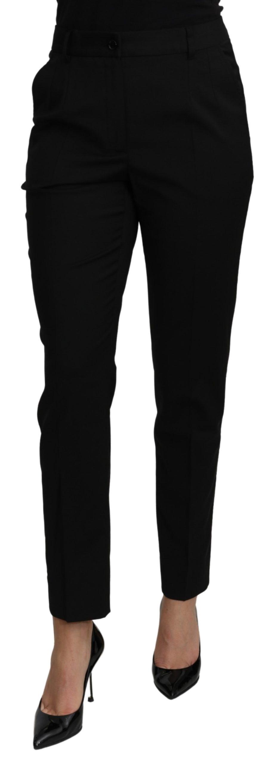 Dolce & Gabbana Women's Tapered High Waist Dress Trouser Black PAN70973 - IT44 L